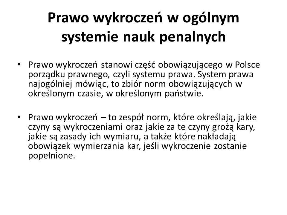 Prawo wykroczeń w ogólnym systemie nauk penalnych Prawo wykroczeń stanowi część obowiązującego w Polsce porządku prawnego, czyli systemu prawa. System