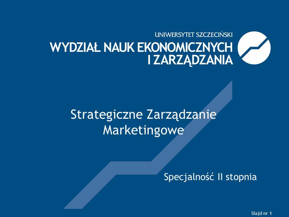 Slajd nr 1 Strategiczne Zarządzanie Marketingowe Specjalność II stopnia