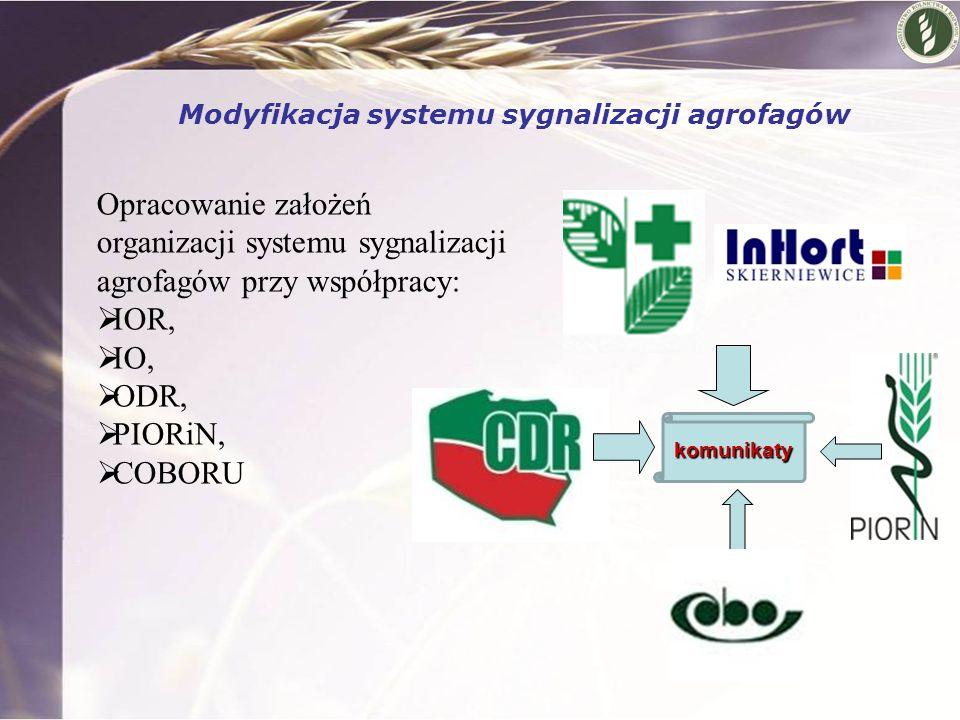 Modyfikacja systemu sygnalizacji agrofagów Opracowanie założeń organizacji systemu sygnalizacji agrofagów przy współpracy:  IOR,  IO,  ODR,  PIORi