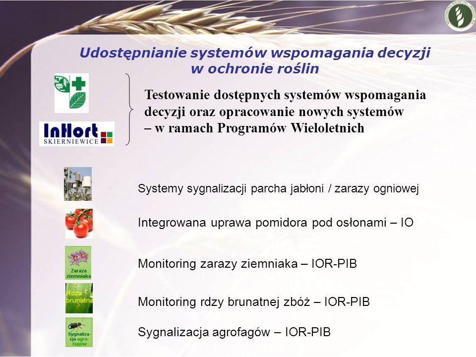 Systemy sygnalizacji parcha jabłoni / zarazy ogniowej Integrowana uprawa pomidora pod osłonami – IO Monitoring zarazy ziemniaka – IOR-PIB Monitoring r