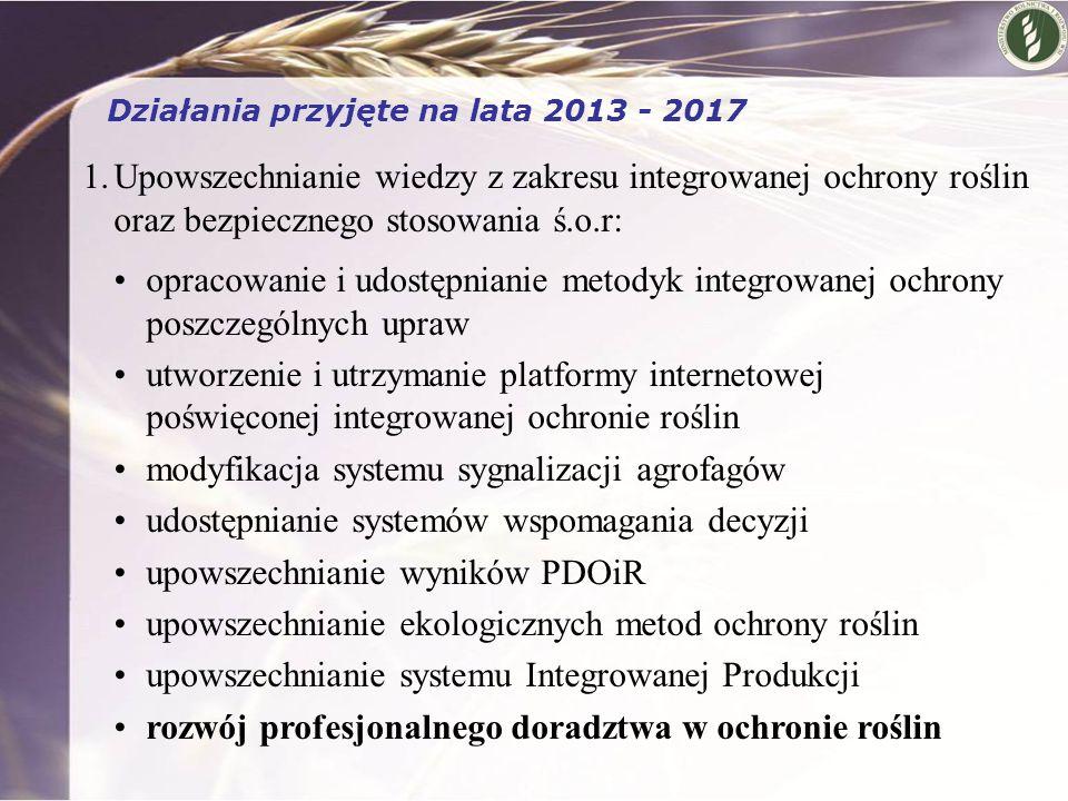 1.Upowszechnianie wiedzy z zakresu integrowanej ochrony roślin oraz bezpiecznego stosowania ś.o.r: opracowanie i udostępnianie metodyk integrowanej oc
