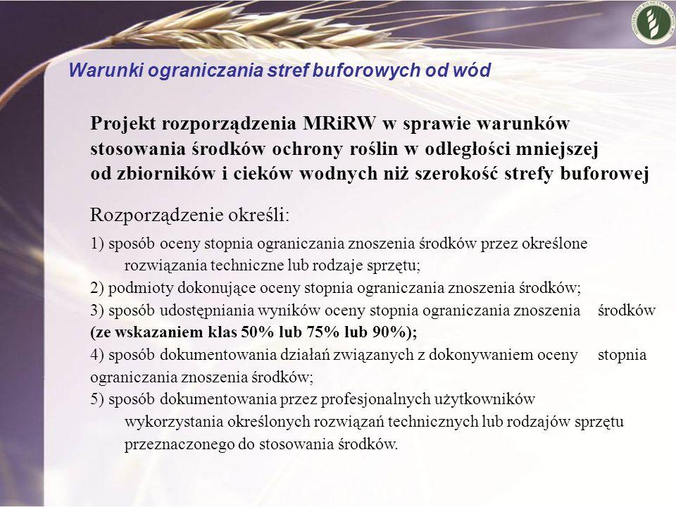 Projekt rozporządzenia MRiRW w sprawie warunków stosowania środków ochrony roślin w odległości mniejszej od zbiorników i cieków wodnych niż szerokość