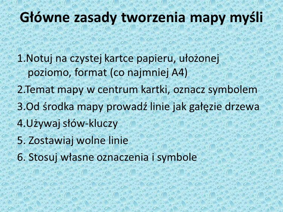 Główne zasady tworzenia mapy myśli 1.Notuj na czystej kartce papieru, ułożonej poziomo, format (co najmniej A4) 2.Temat mapy w centrum kartki, oznacz symbolem 3.Od środka mapy prowadź linie jak gałęzie drzewa 4.Używaj słów-kluczy 5.