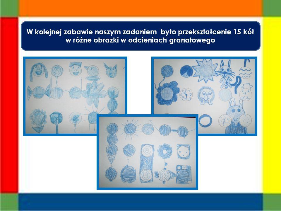 W kolejnej zabawie naszym zadaniem było przekształcenie 15 kół w różne obrazki w odcieniach granatowego