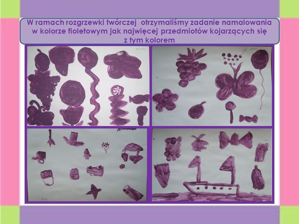W ramach rozgrzewki twórczej otrzymaliśmy zadanie namalowania w kolorze fioletowym jak najwięcej przedmiotów kojarzących się z tym kolorem