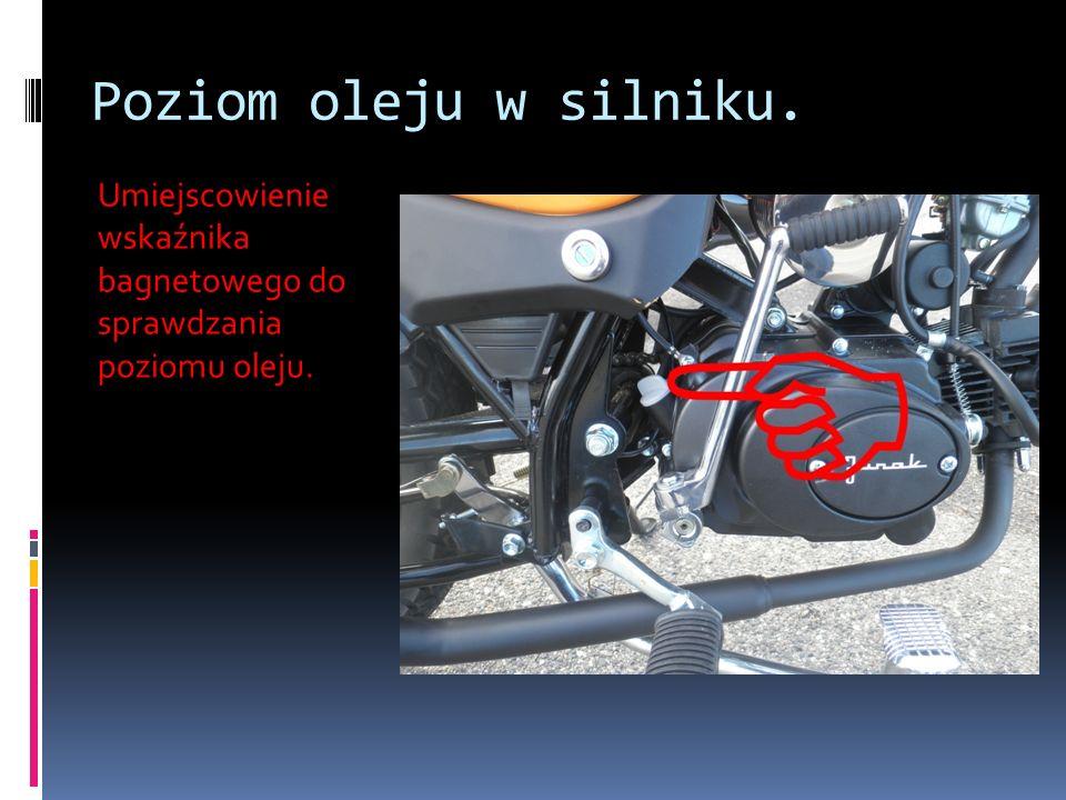 Poziom oleju w silniku. Umiejscowienie wskaźnika bagnetowego do sprawdzania poziomu oleju.