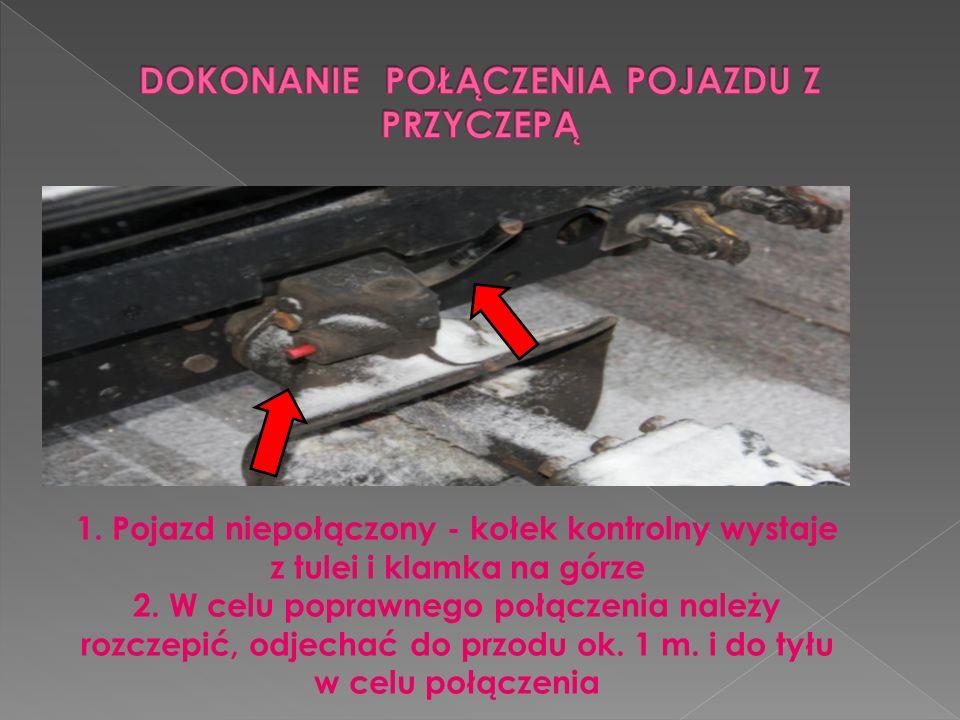 1. Pojazd niepołączony - kołek kontrolny wystaje z tulei i klamka na górze 2. W celu poprawnego połączenia należy rozczepić, odjechać do przodu ok. 1
