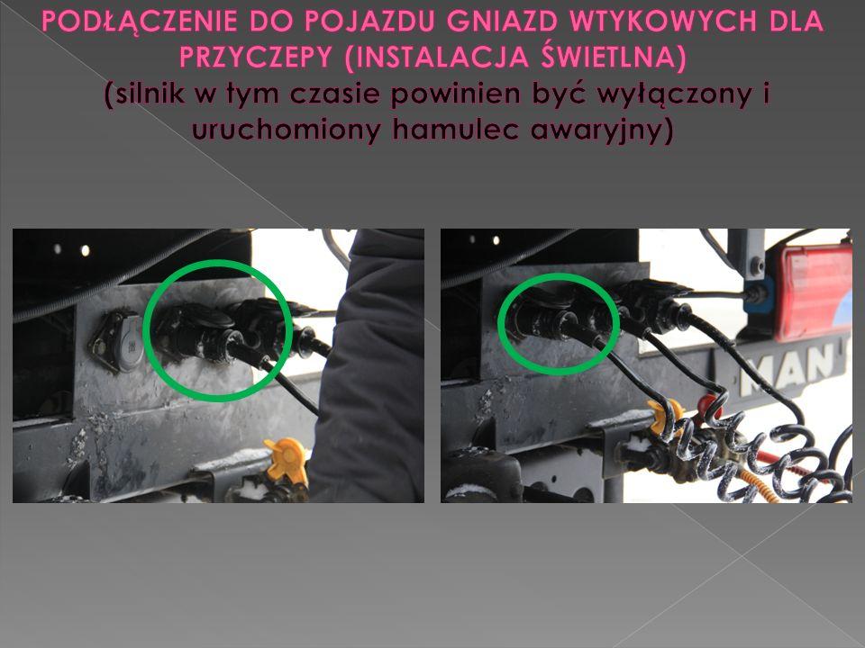 2.połączenie układu hamulcowego 3. połączenie instalacji hamulcowej i świetlnej 1.