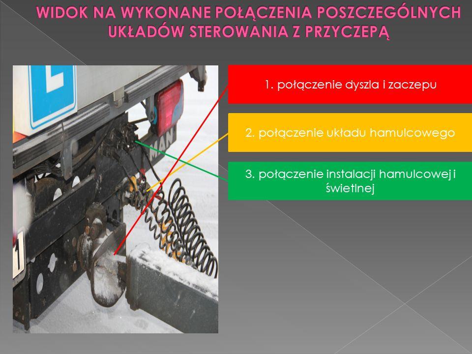 2. połączenie układu hamulcowego 3. połączenie instalacji hamulcowej i świetlnej 1. połączenie dyszla i zaczepu