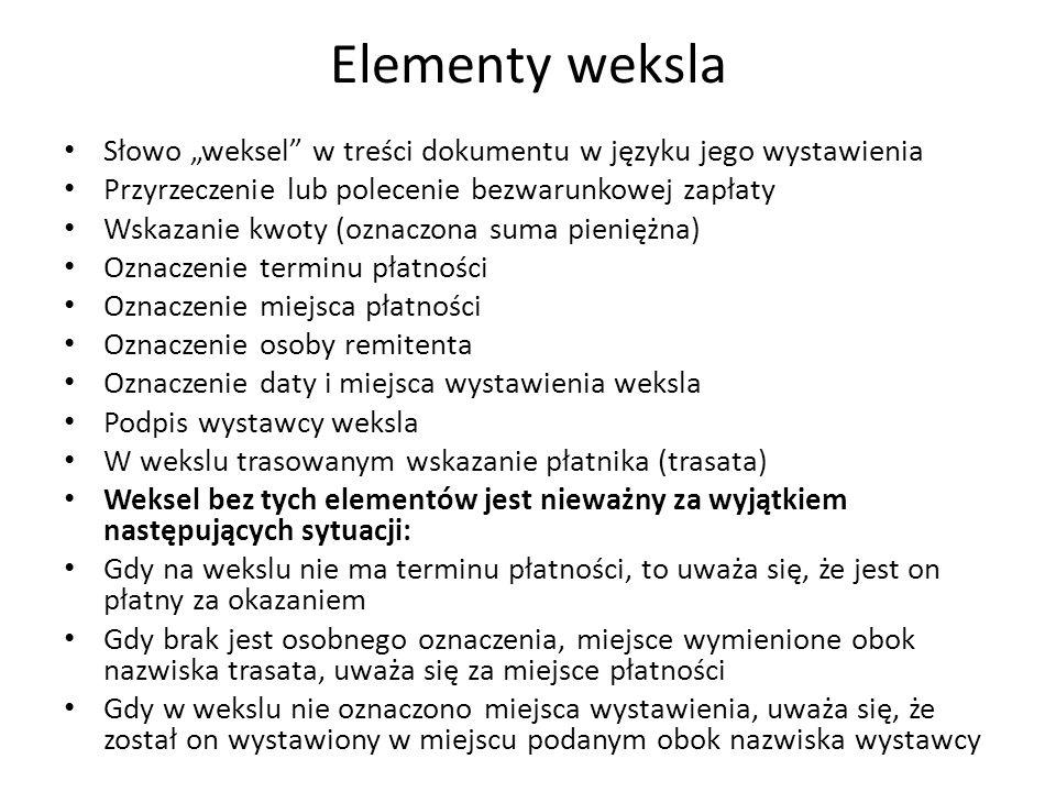 """Elementy weksla Słowo """"weksel"""" w treści dokumentu w języku jego wystawienia Przyrzeczenie lub polecenie bezwarunkowej zapłaty Wskazanie kwoty (oznaczo"""