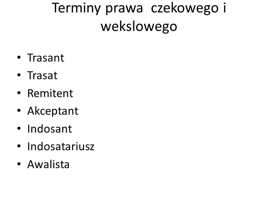 Terminy prawa czekowego i wekslowego Trasant Trasat Remitent Akceptant Indosant Indosatariusz Awalista