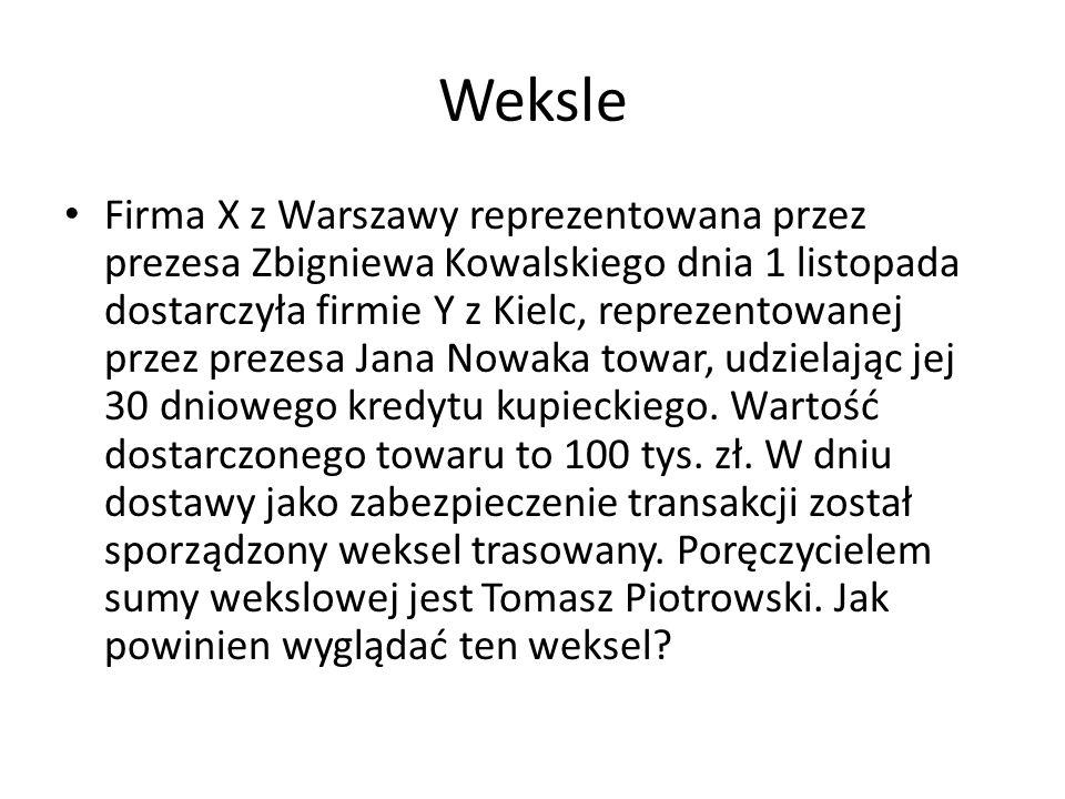 Weksle Firma X z Warszawy reprezentowana przez prezesa Zbigniewa Kowalskiego dnia 1 listopada dostarczyła firmie Y z Kielc, reprezentowanej przez prez