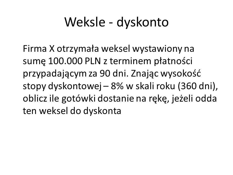 Weksle - dyskonto Firma X otrzymała weksel wystawiony na sumę 100.000 PLN z terminem płatności przypadającym za 90 dni. Znając wysokość stopy dyskonto