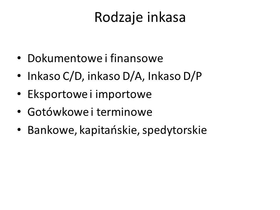 Rodzaje inkasa Dokumentowe i finansowe Inkaso C/D, inkaso D/A, Inkaso D/P Eksportowe i importowe Gotówkowe i terminowe Bankowe, kapitańskie, spedytorskie