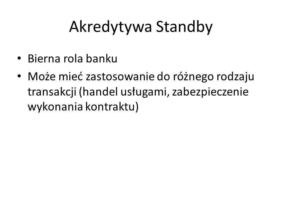 Akredytywa Standby Bierna rola banku Może mieć zastosowanie do różnego rodzaju transakcji (handel usługami, zabezpieczenie wykonania kontraktu)
