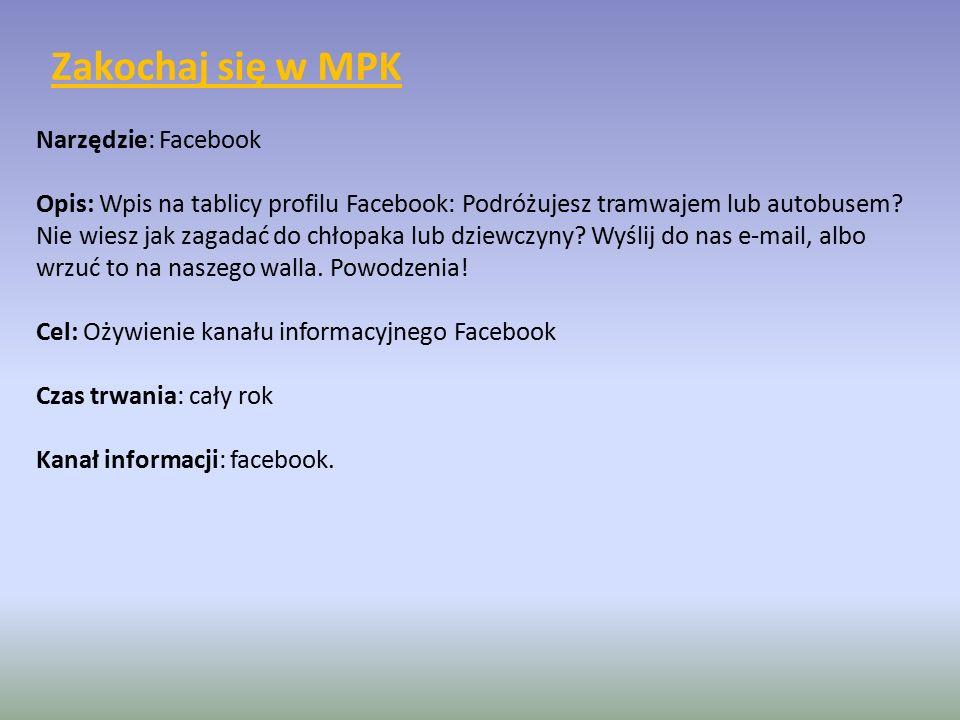 Narzędzie: Facebook Opis: Wpis na tablicy profilu Facebook: Podróżujesz tramwajem lub autobusem.