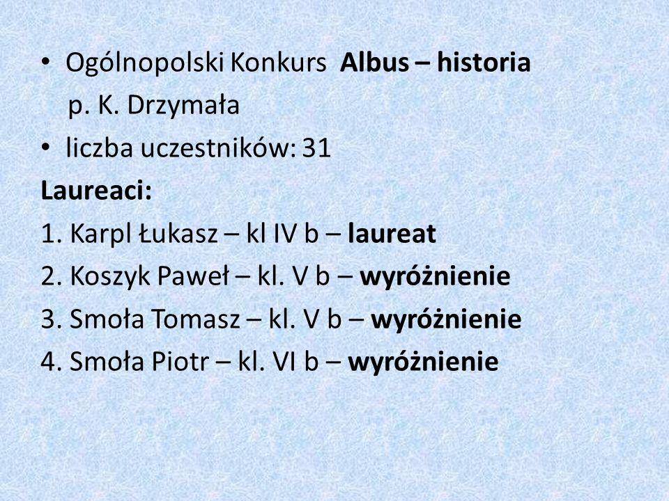 Ogólnopolski Konkurs Albus – historia p. K. Drzymała liczba uczestników: 31 Laureaci: 1.