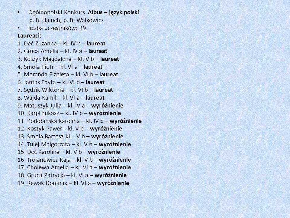 Ogólnopolski Konkurs Albus – język polski p. B. Haluch, p.