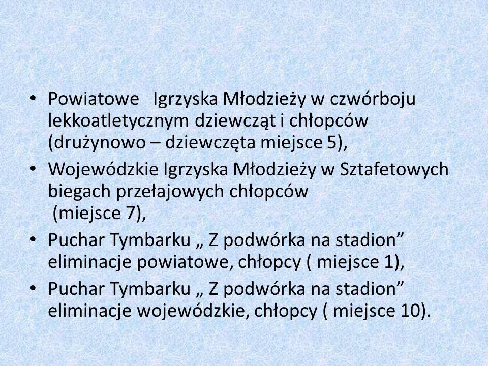 """Powiatowe Igrzyska Młodzieży w czwórboju lekkoatletycznym dziewcząt i chłopców (drużynowo – dziewczęta miejsce 5), Wojewódzkie Igrzyska Młodzieży w Sztafetowych biegach przełajowych chłopców (miejsce 7), Puchar Tymbarku """" Z podwórka na stadion eliminacje powiatowe, chłopcy ( miejsce 1), Puchar Tymbarku """" Z podwórka na stadion eliminacje wojewódzkie, chłopcy ( miejsce 10)."""