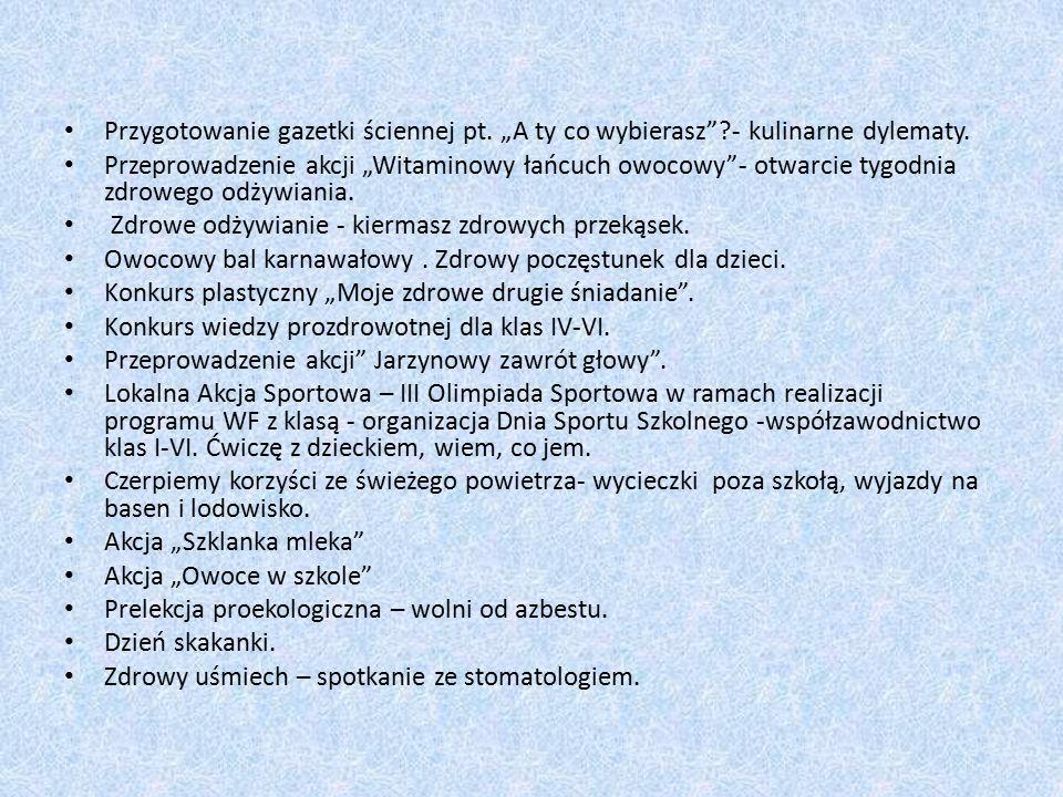 """Przygotowanie gazetki ściennej pt. """"A ty co wybierasz ?- kulinarne dylematy."""