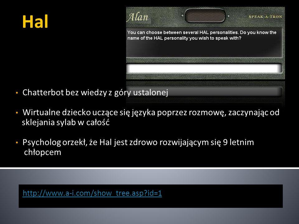 Hal Chatterbot bez wiedzy z góry ustalonej Wirtualne dziecko uczące się języka poprzez rozmowę, zaczynając od sklejania sylab w całość Psycholog orzek