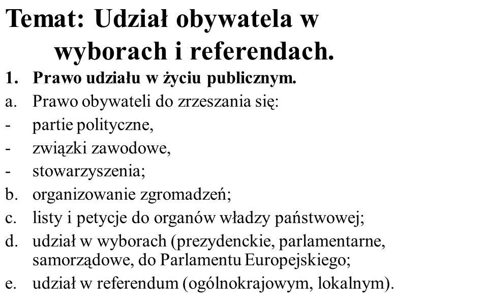 Temat: Udział obywatela w wyborach i referendach. 1.Prawo udziału w życiu publicznym. a.Prawo obywateli do zrzeszania się: -partie polityczne, -związk