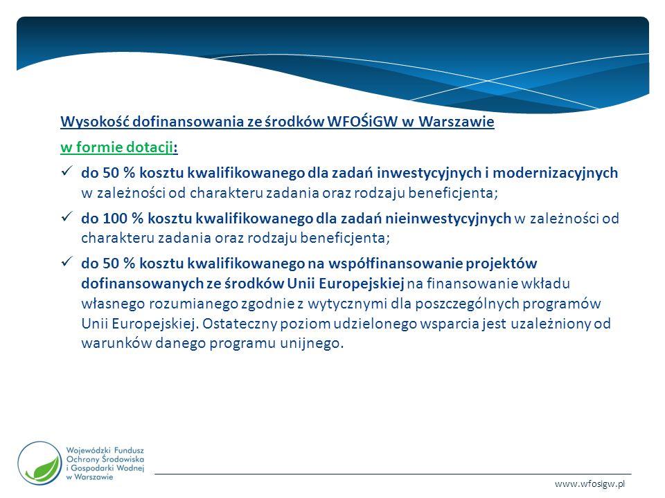 www.wfosigw.pl Wysokość dofinansowania ze środków WFOŚiGW w Warszawie w formie dotacji: do 50 % kosztu kwalifikowanego dla zadań inwestycyjnych i modernizacyjnych w zależności od charakteru zadania oraz rodzaju beneficjenta; do 100 % kosztu kwalifikowanego dla zadań nieinwestycyjnych w zależności od charakteru zadania oraz rodzaju beneficjenta; do 50 % kosztu kwalifikowanego na współfinansowanie projektów dofinansowanych ze środków Unii Europejskiej na finansowanie wkładu własnego rozumianego zgodnie z wytycznymi dla poszczególnych programów Unii Europejskiej.