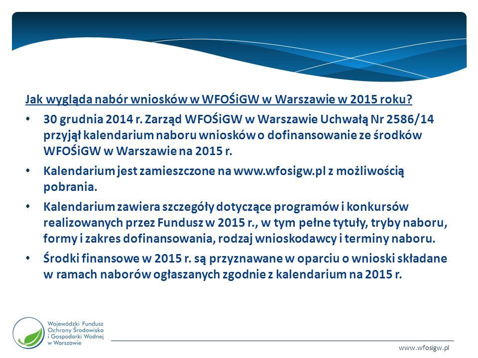 www.wfosigw.pl Jak wygląda nabór wniosków w WFOŚiGW w Warszawie w 2015 roku.