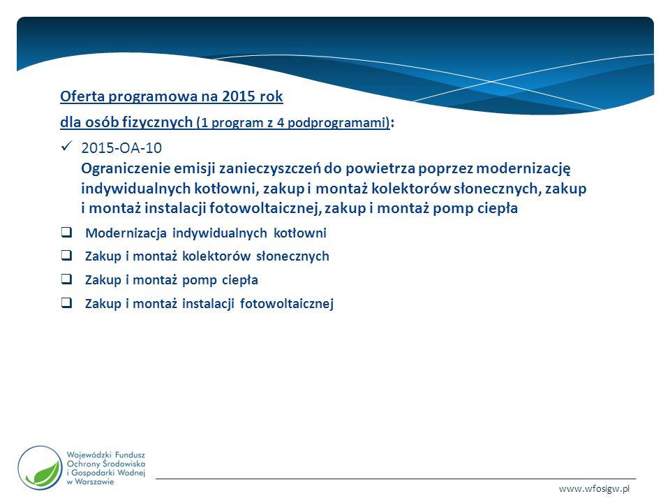 www.wfosigw.pl Oferta programowa na 2015 rok dla osób fizycznych (1 program z 4 podprogramami) : 2015-OA-10 Ograniczenie emisji zanieczyszczeń do powietrza poprzez modernizację indywidualnych kotłowni, zakup i montaż kolektorów słonecznych, zakup i montaż instalacji fotowoltaicznej, zakup i montaż pomp ciepła  Modernizacja indywidualnych kotłowni  Zakup i montaż kolektorów słonecznych  Zakup i montaż pomp ciepła  Zakup i montaż instalacji fotowoltaicznej