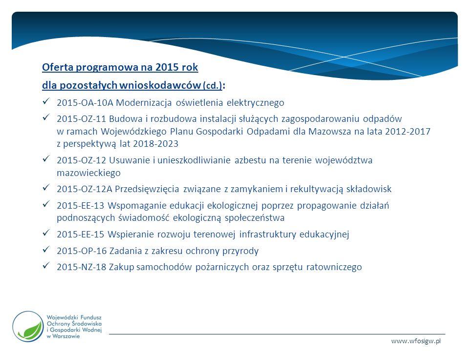 www.wfosigw.pl Oferta programowa na 2015 rok dla pozostałych wnioskodawców (cd.) : 2015-OA-10A Modernizacja oświetlenia elektrycznego 2015-OZ-11 Budowa i rozbudowa instalacji służących zagospodarowaniu odpadów w ramach Wojewódzkiego Planu Gospodarki Odpadami dla Mazowsza na lata 2012-2017 z perspektywą lat 2018-2023 2015-OZ-12 Usuwanie i unieszkodliwianie azbestu na terenie województwa mazowieckiego 2015-OZ-12A Przedsięwzięcia związane z zamykaniem i rekultywacją składowisk 2015-EE-13 Wspomaganie edukacji ekologicznej poprzez propagowanie działań podnoszących świadomość ekologiczną społeczeństwa 2015-EE-15 Wspieranie rozwoju terenowej infrastruktury edukacyjnej 2015-OP-16 Zadania z zakresu ochrony przyrody 2015-NZ-18 Zakup samochodów pożarniczych oraz sprzętu ratowniczego