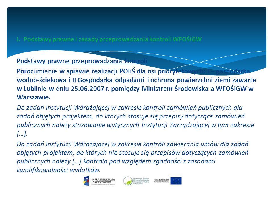 I. Podstawy prawne i zasady przeprowadzania kontroli WFOŚiGW Podstawy prawne przeprowadzania kontroli Porozumienie w sprawie realizacji POIiŚ dla osi