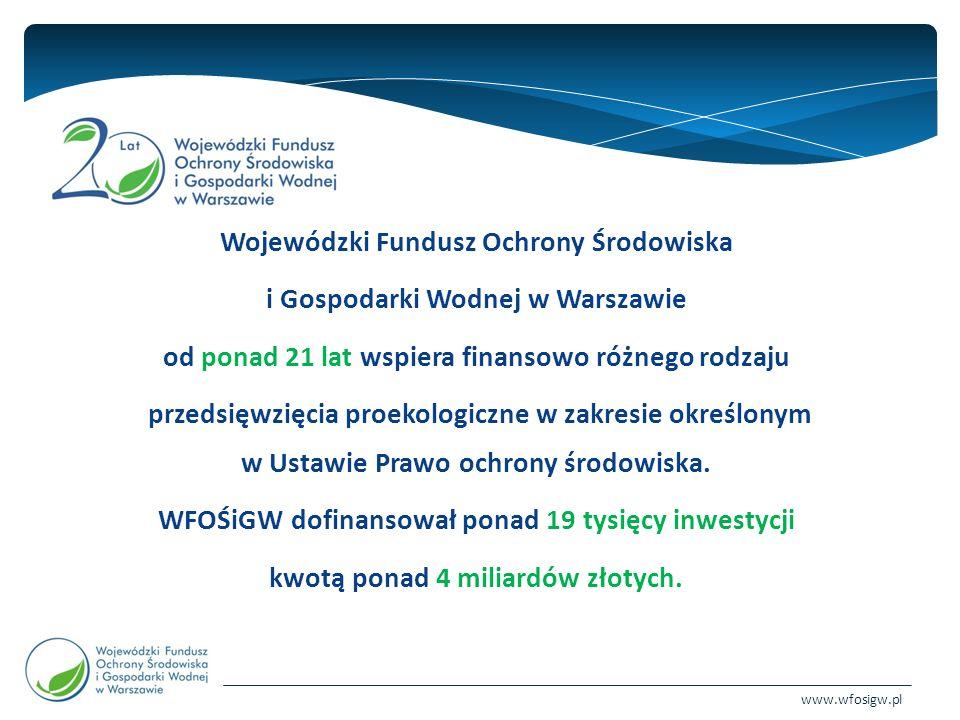 www.wfosigw.pl Oferta programowa na 2015 rok dla jednostek samorządu terytorialnego i ich jednostek podległych (cd.) : 2015-OA-10A Modernizacja oświetlenia elektrycznego 2015-OA-10B Poprawa jakości powietrza Część 2)Kawka - Likwidacja niskiej emisji wspierająca wzrost efektywności i rozwój rozproszonych odnawialnych źródeł energii 2015-OA-10C Poprawa jakości powietrza na terenie województwa mazowieckiego - ograniczenie emisji zanieczyszczeń poprzez modernizację kotłowni 2015-OA-10D Plany Gospodarki Niskoemisyjnej 2015-OZ-11 Budowa i rozbudowa instalacji służących zagospodarowaniu odpadów w ramach Wojewódzkiego Planu Gospodarki Odpadami dla Mazowsza na lata 2012-2017 z perspektywą lat 2018-2023 2015-OZ-12 Usuwanie i unieszkodliwianie azbestu na terenie województwa mazowieckiego 2015-OZ-12A Przedsięwzięcia związane z zamykaniem i rekultywacją składowisk