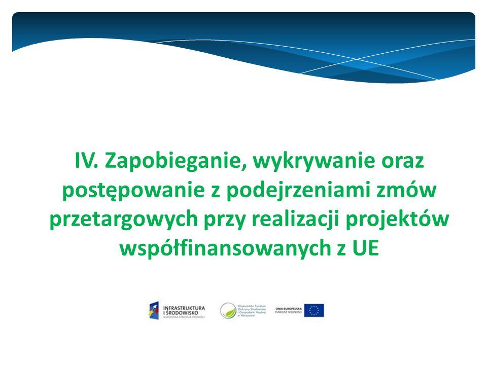 IV. Zapobieganie, wykrywanie oraz postępowanie z podejrzeniami zmów przetargowych przy realizacji projektów współfinansowanych z UE
