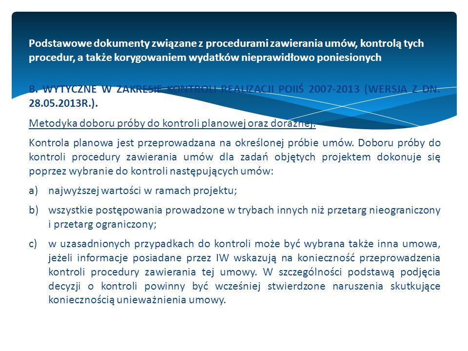 Podstawowe dokumenty związane z procedurami zawierania umów, kontrolą tych procedur, a także korygowaniem wydatków nieprawidłowo poniesionych B.