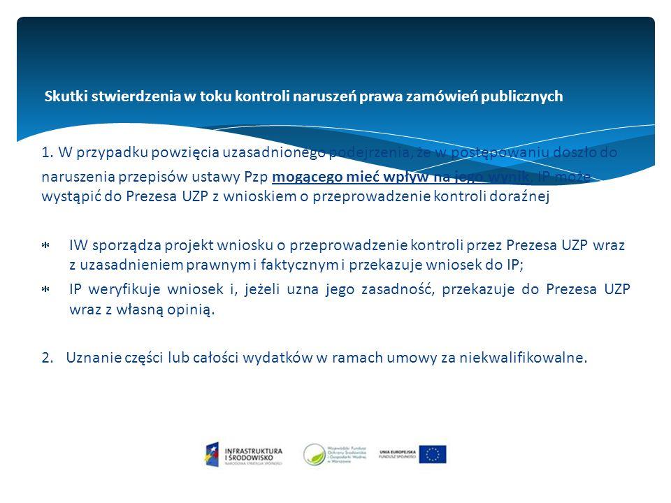Skutki stwierdzenia w toku kontroli naruszeń prawa zamówień publicznych 1.