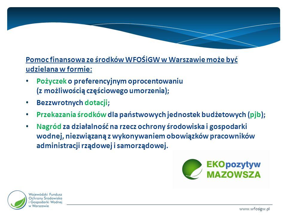 www.wfosigw.pl Wysokość dofinansowania ze środków WFOŚiGW w Warszawie w formie pożyczki: do 100% kosztów kwalifikowanych; o preferencyjnym oprocentowaniu 3,5 % w stosunku rocznym (w indywidualnych przypadkach istnieje możliwość zmniejszenia do 1,5 %); karencja w spłacie pożyczki może być udzielona do 12 miesięcy (dla jednostek samorządu terytorialnego Zarząd Funduszu może wydłużyć okres karencji do 24 miesięcy); spłata w okresie nie dłuższym niż 10 lat (w uzasadnionych przypadkach na wniosek wnioskodawcy okres ten może zostać wydłużony do 15 lat); poziom umorzenia dla poszczególnych zadań/dziedzin określają regulaminy programów i konkursów; maksymalny poziom umorzenia dla poszczególnych zadań/dziedzin nie może przekroczyć 50 % przyznanej pożyczki;