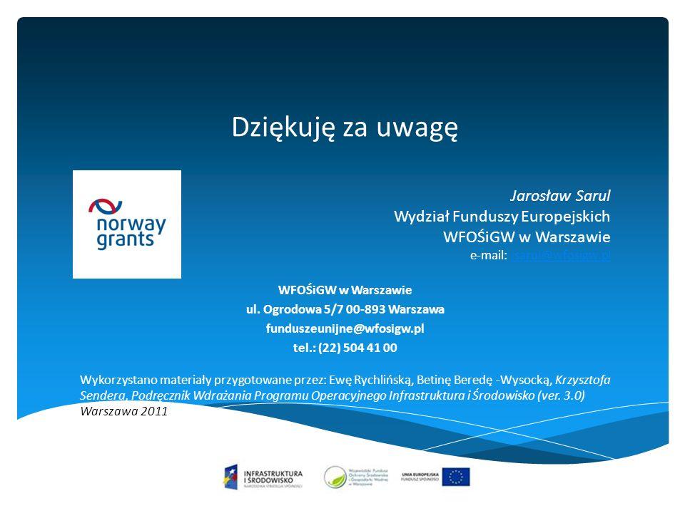 Dziękuję za uwagę Jarosław Sarul Wydział Funduszy Europejskich WFOŚiGW w Warszawie e-mail: jsarul@wfosigw.pljsarul@wfosigw.pl WFOŚiGW w Warszawie ul.