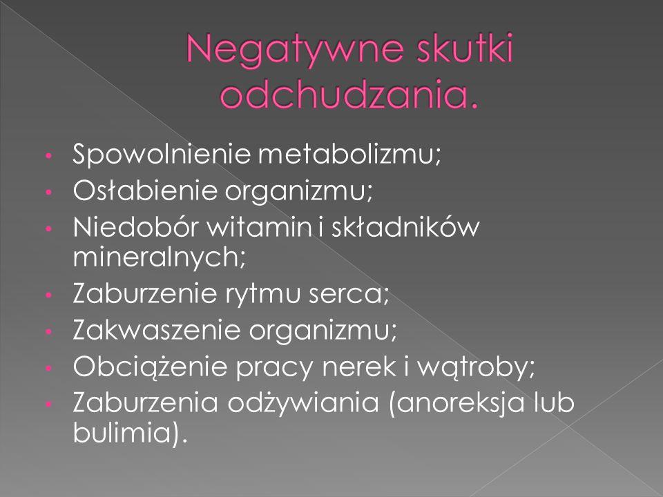 Spowolnienie metabolizmu; Osłabienie organizmu; Niedobór witamin i składników mineralnych; Zaburzenie rytmu serca; Zakwaszenie organizmu; Obciążenie pracy nerek i wątroby; Zaburzenia odżywiania (anoreksja lub bulimia).