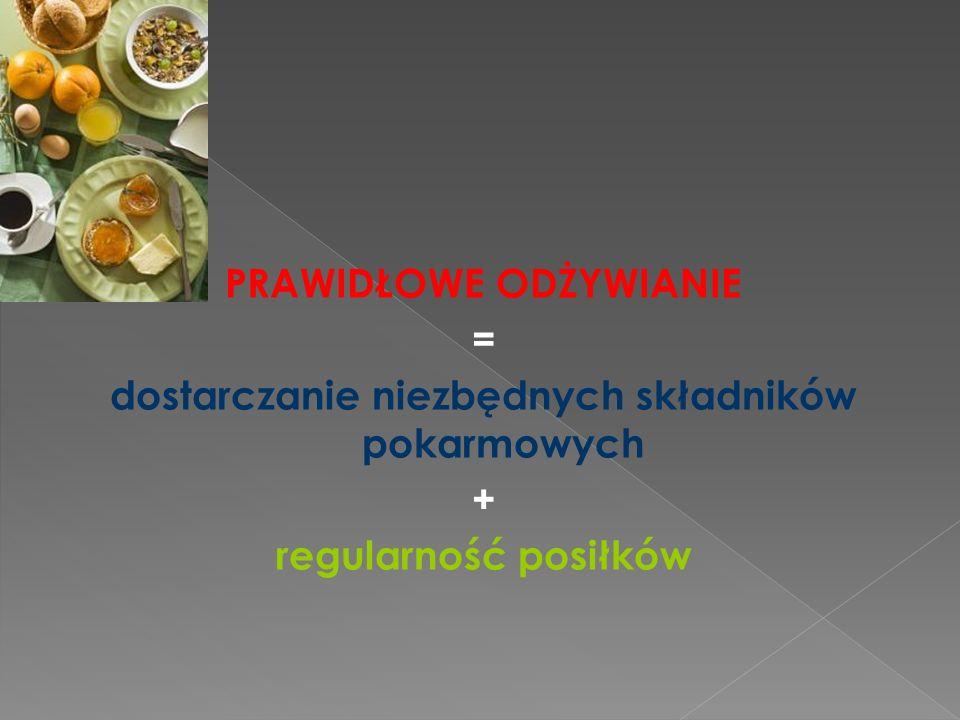PRAWIDŁOWE ODŻYWIANIE = dostarczanie niezbędnych składników pokarmowych + regularność posiłków