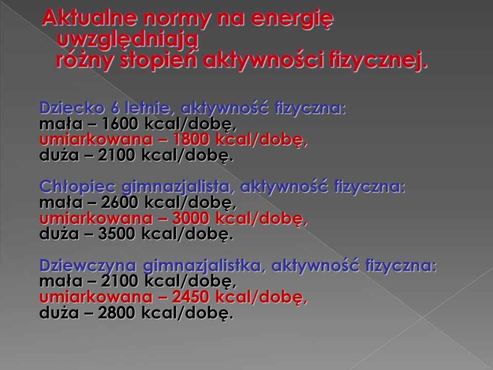 Dziecko 6 letnie, aktywność fizyczna: mała – 1600 kcal/dobę, umiarkowana – 1800 kcal/dobę, duża – 2100 kcal/dobę.