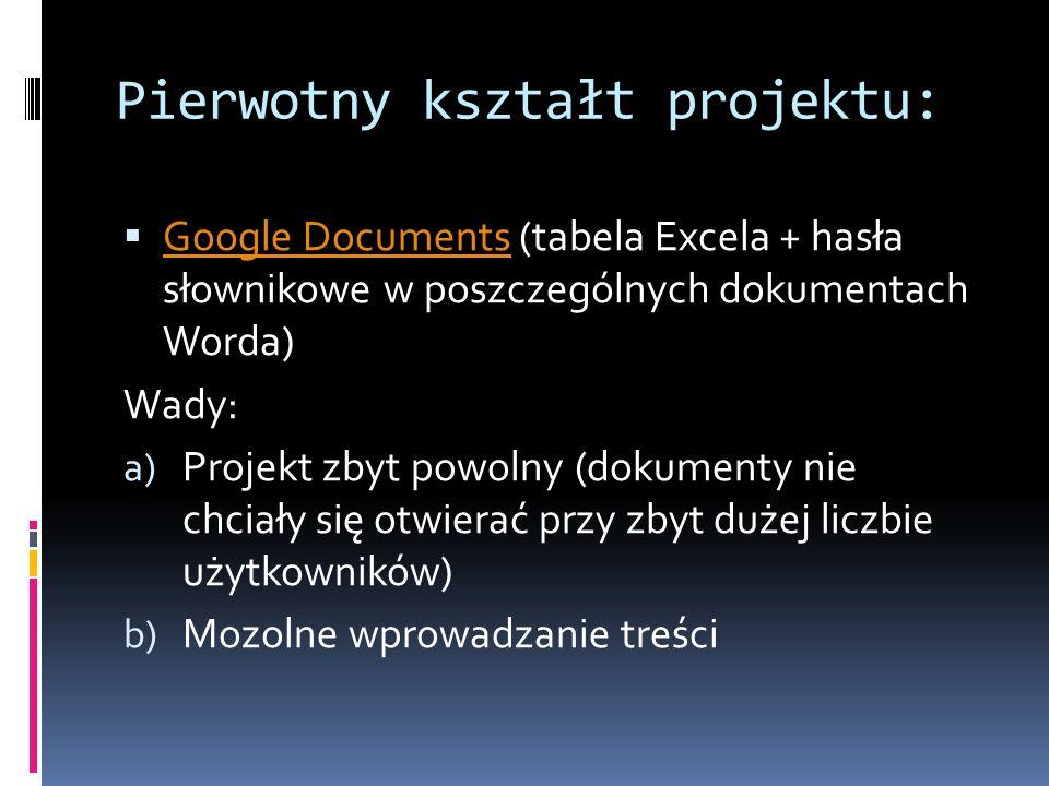 Pierwotny kształt projektu:  Google Documents (tabela Excela + hasła słownikowe w poszczególnych dokumentach Worda) Google Documents Wady: a) Projekt zbyt powolny (dokumenty nie chciały się otwierać przy zbyt dużej liczbie użytkowników) b) Mozolne wprowadzanie treści