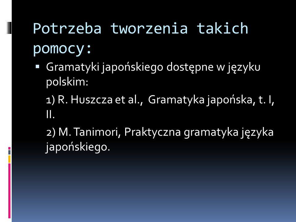 Potrzeba tworzenia takich pomocy:  Gramatyki japońskiego dostępne w języku polskim: 1) R.