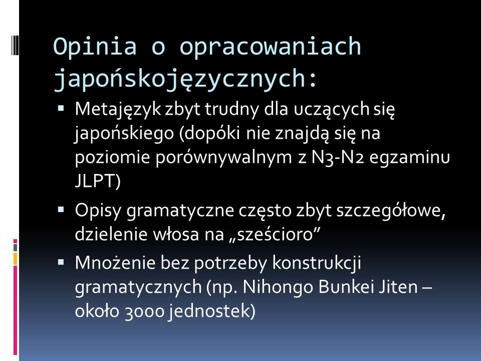 Na czym się koncentruję:  Rozróżnienie użycia form synonimicznych, bliskoznacznych  Pragmatyka językowa  Przykłady językowe docelowo nie tylko z podręczników ( 教科書日本語 ), ale również z korpusów językowych (np.