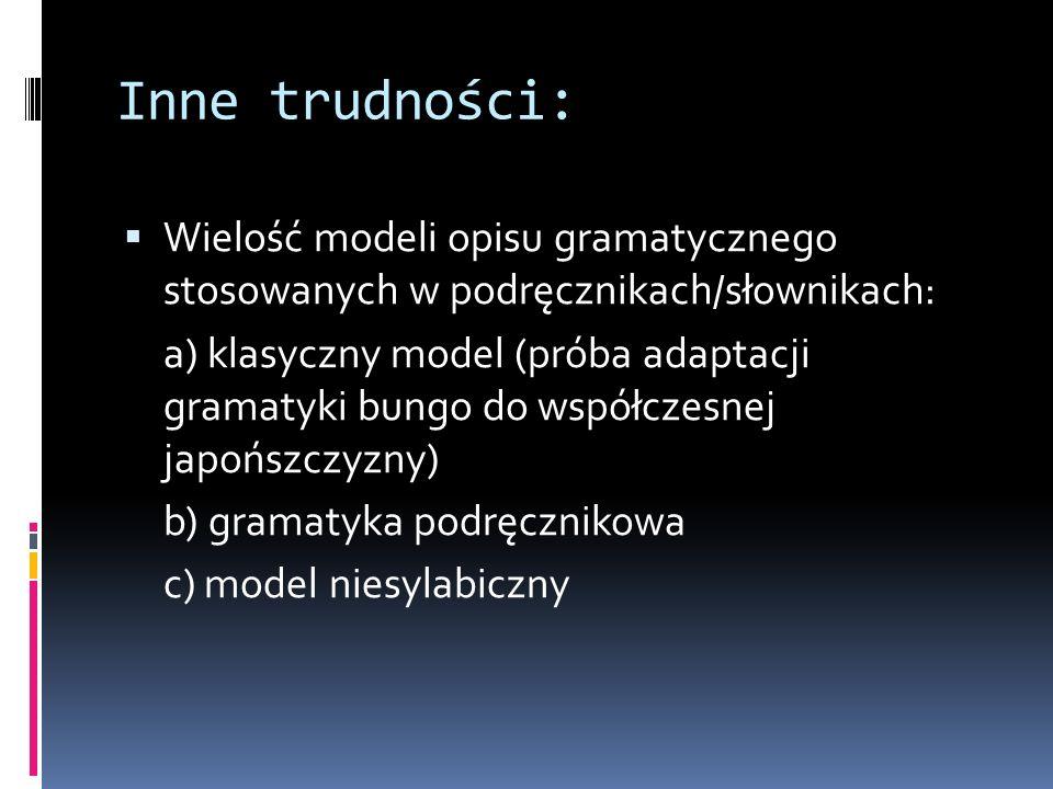 Inne trudności:  Wielość modeli opisu gramatycznego stosowanych w podręcznikach/słownikach: a) klasyczny model (próba adaptacji gramatyki bungo do współczesnej japońszczyzny) b) gramatyka podręcznikowa c) model niesylabiczny