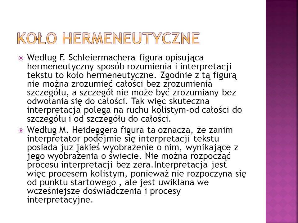  Według F. Schleiermachera figura opisująca hermeneutyczny sposób rozumienia i interpretacji tekstu to koło hermeneutyczne. Zgodnie z tą figurą nie m