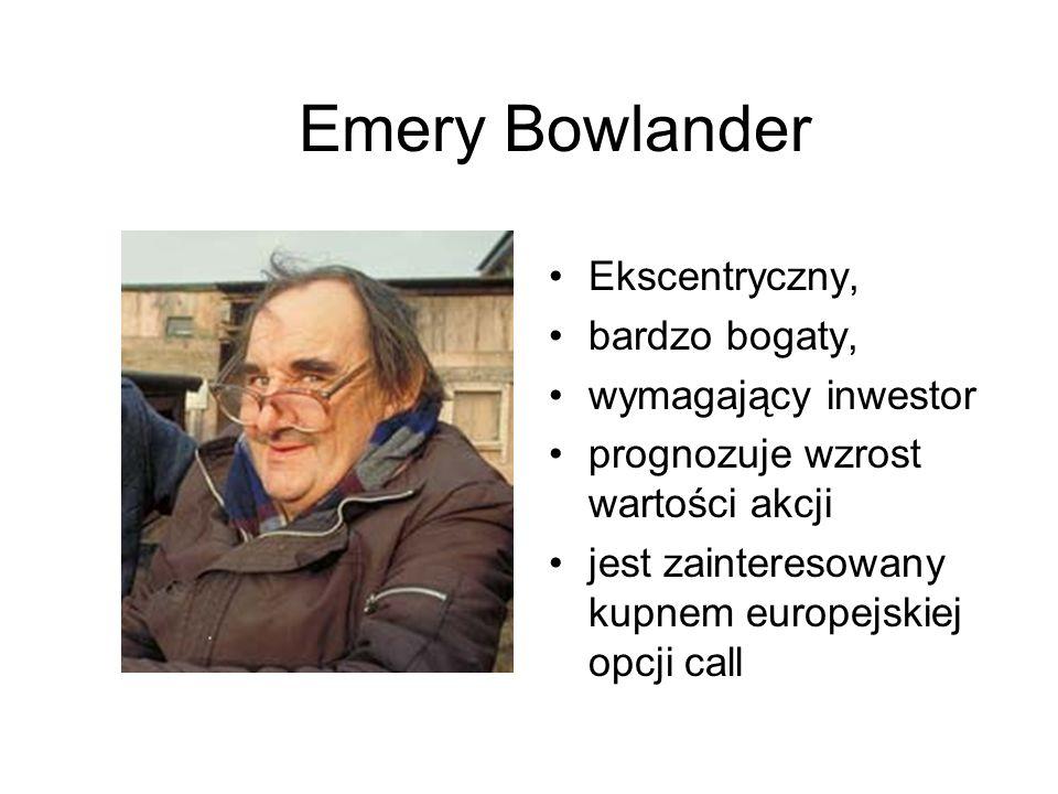 Emery Bowlander Ekscentryczny, bardzo bogaty, wymagający inwestor prognozuje wzrost wartości akcji jest zainteresowany kupnem europejskiej opcji call