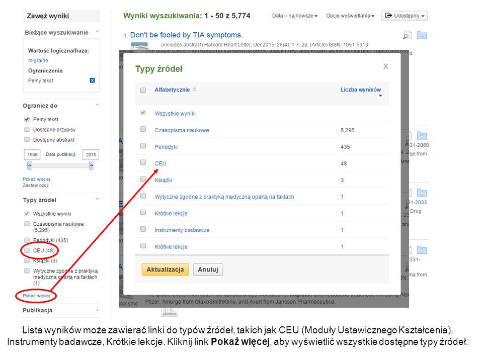 Lista wyników może zawierać linki do typów źródeł, takich jak CEU (Moduły Ustawicznego Kształcenia), Instrumenty badawcze, Krótkie lekcje.