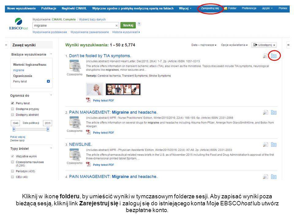 Kliknij w ikonę folderu, by umieścić wyniki w tymczasowym folderze sesji.