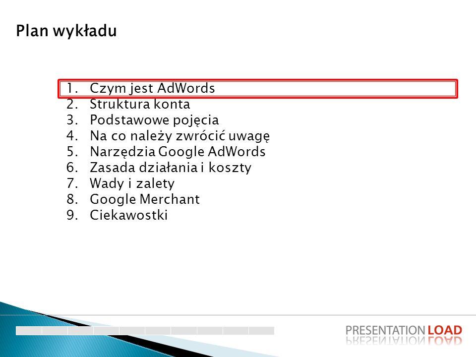 1.Czym jest AdWords 2.Struktura konta 3.Podstawowe pojęcia 4.Na co należy zwrócić uwagę 5.Narzędzia Google AdWords 6.Zasada działania i koszty 7.Wady