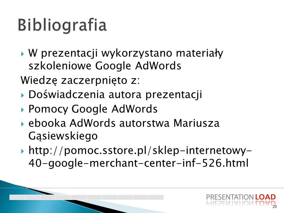  W prezentacji wykorzystano materiały szkoleniowe Google AdWords Wiedzę zaczerpnięto z:  Doświadczenia autora prezentacji  Pomocy Google AdWords 